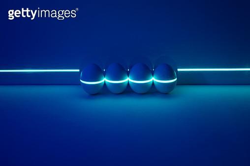 Green Laser Scanning Eggs on Dark Blue Background. - gettyimageskorea