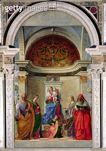 <b>Title</b> : Madonna and Child with Saints (San Zaccaria Altarpiece) 1505 (oil on canvas)Additional InfoVierge a l'Enfant entouree de Saints;<br><b>Medium</b> : oil on canvas<br><b>Location</b> : San Zaccaria, Venice, Italy<br> - gettyimageskorea