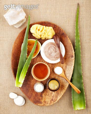 Still life with aloe vera, sugar scrub, honey - gettyimageskorea
