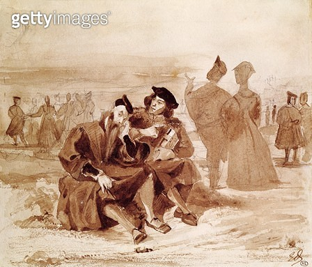 <b>Title</b> : Faust and Wagner in conversation in the countryside, from 'Faust' by Johann Wolfgang von Goethe (1749-1832) 1827 (pen & ink on p<br><b>Medium</b> : pen and ink on paper<br><b>Location</b> : Louvre (Cabinet de dessins), Paris, France<br> - gettyimageskorea