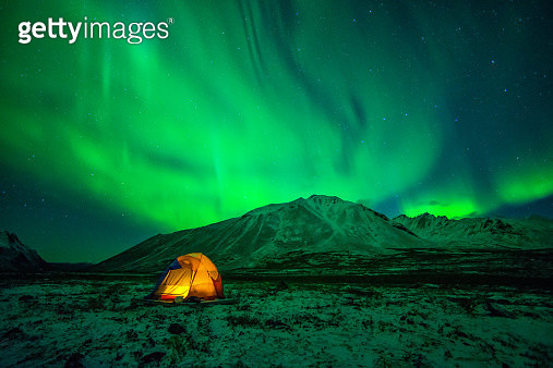 Camping under Northern Lights - gettyimageskorea