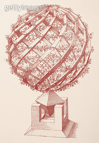 GLOBE, 1568. /nArchitectural globe. Etching from 'Perspectiva,' 1568, by Wenzel Jamnitzer. - gettyimageskorea