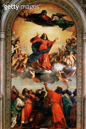 <b>Title</b> : The Assumption of the Virgin, 1516-18 (oil on canvas)<br><b>Medium</b> : oil on canvas<br><b>Location</b> : Santa Maria Gloriosa dei Frari, Venice, Italy<br> - gettyimageskorea