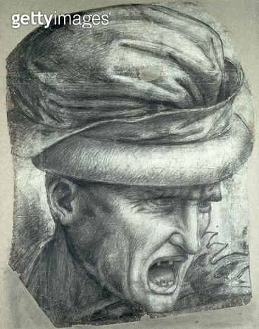 <b>Title</b> : Head of a Warrior, copy of a detail from 'The Battle of Anghiari' (black chalk on paper)Additional Infopossibly the head of Nicc<br><b>Medium</b> : black chalk on paper<br><b>Location</b> : Ashmolean Museum, University of Oxford, UK<br> - gettyimageskorea