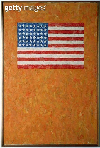 <b>Title</b> : Flag on Orange Field, 1957 (oil on canvas)<br><b>Medium</b> : oil on canvas<br><b>Location</b> : Ludwig Museum, Cologne, Germany<br> - gettyimageskorea