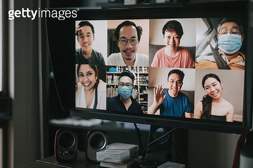 a screen of 8 person online chatting looking at camera discussion from a computer monitor screen at home office - gettyimageskorea