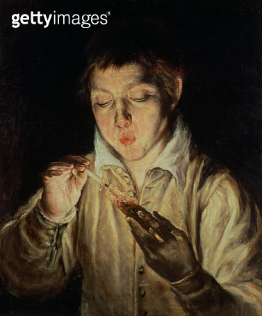 <b>Title</b> : A Child Blowing on an Ember, early 1570s (oil on canvas)Additional Infobased on Pliny's description of a lost ancient Greek work<br><b>Medium</b> : oil on canvas<br><b>Location</b> : Museo e Gallerie Nazionali di Capodimonte, Naples, Italy< - gettyimageskorea