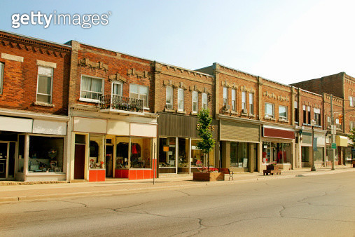 Storefront buildings in a small town - gettyimageskorea