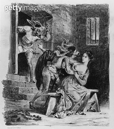 <b>Title</b> : Faust rescues Marguerite from her prison, from Goethe's Faust, 1828, (illustration), (b/w photo of litho)<br><b>Medium</b> : <br><b>Location</b> : Bibliotheque des Beaux-Arts, Paris, France<br> - gettyimageskorea