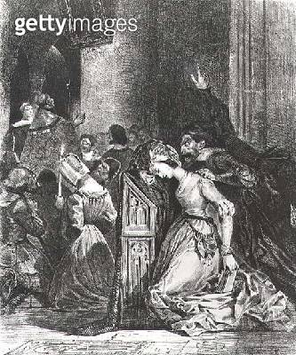 Marguerite in the Church with the Evil Spirits: illustration from 'Faust' by Goethe/ 1828 (litho) - gettyimageskorea