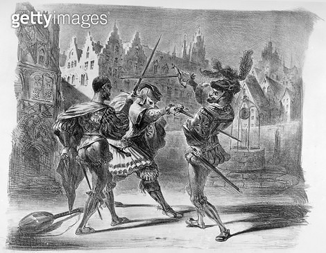<b>Title</b> : Duel between Faust and Valentine, from Goethe's Faust, after 1828, (illustration), (b/w photo of lithograph)<br><b>Medium</b> : <br><b>Location</b> : Bibliotheque des Beaux-Arts, Paris, France<br> - gettyimageskorea
