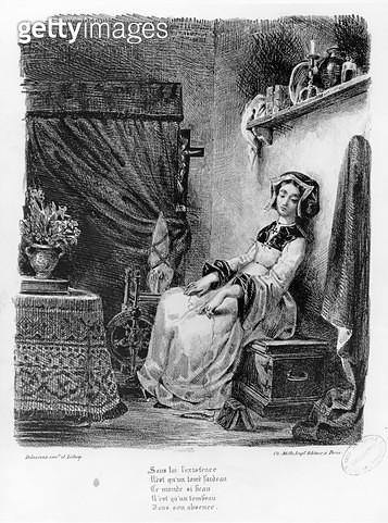<b>Title</b> : Marguerite in her Room, from Goethe's Faust, (illustration), (b/w photo of lithograph)<br><b>Medium</b> : <br><b>Location</b> : Bibliotheque des Beaux-Arts, Paris, France<br> - gettyimageskorea