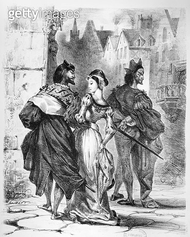 Faust meeting Marguerite/ from Goethe's Faust/ after 1828/ (illustration)/ (b/w photo of lithograph) - gettyimageskorea