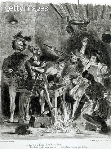 Mephistopheles and the Drinking Companions/ from Goethe's Faust/ 1828/ (illustration)/ (b/w photo of lithograph) - gettyimageskorea