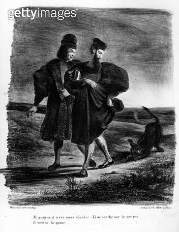 <b>Title</b> : Faust and Wagner, Illustration for Faust by Goethe, 1828 (litho) (b/w photo)<br><b>Medium</b> : lithograph<br><b>Location</b> : Bibliotheque des Beaux-Arts, Paris, France<br> - gettyimageskorea