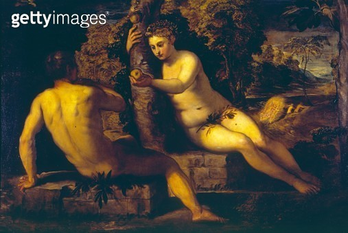 <b>Title</b> : The Temptation of Adam and Eve (oil on canvas)<br><b>Medium</b> : oil on canvas<br><b>Location</b> : Galleria dell' Accademia, Venice, Italy<br> - gettyimageskorea