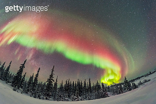 A colorful auroral arc developing over the boreal forest in Manitoba, Canada. - gettyimageskorea
