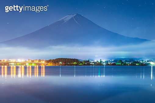 Mt. Fuji Japan Mountain Night starry sky Milky way - gettyimageskorea