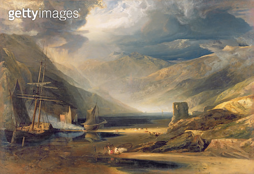 <b>Title</b> : A Storm Passing Off on the Coast of Merionethshire, 1818 (oil on canvas)<br><b>Medium</b> : oil on canvas<br><b>Location</b> : Yale Center for British Art, Paul Mellon Collection, USA<br> - gettyimageskorea