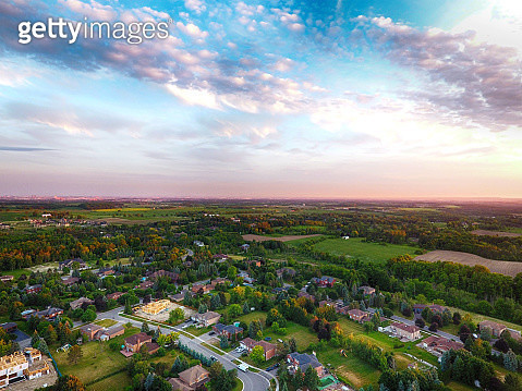 Sunrise at small town on aerial view in summer, Ontario, Canada - gettyimageskorea