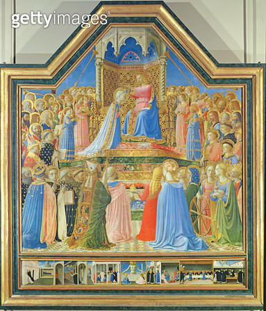 <b>Title</b> : Coronation of the Virgin, c.1430-32 (tempera on panel) (for detail see 93858)<br><b>Medium</b> : tempera on panel<br><b>Location</b> : Louvre, Paris, France<br> - gettyimageskorea