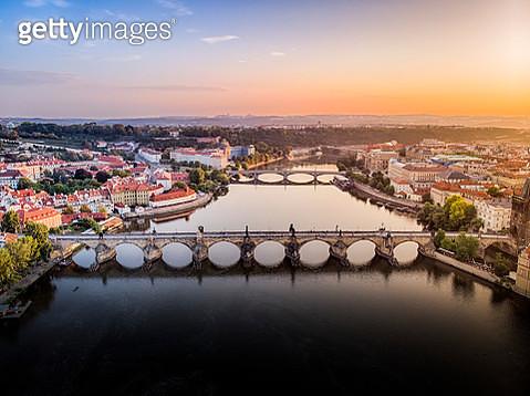 Aerial view of Charles Bridge in Prague during sunset at summer - gettyimageskorea