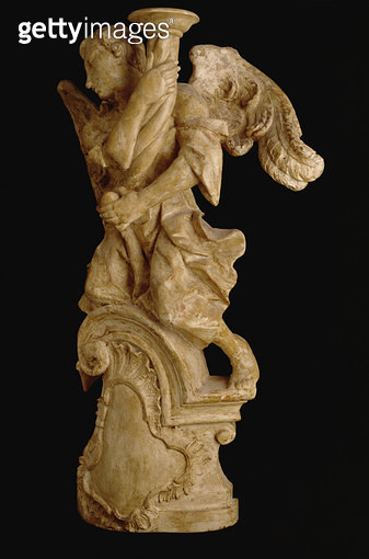 <b>Title</b> : 0ne of a pair of carved angel candlesticks c.1700 (limewood) (see 160329 for pair)<br><b>Medium</b> : limewood<br><b>Location</b> : Private Collection<br> - gettyimageskorea