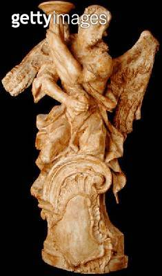 <b>Title</b> : One of a pair of carved angel candlesticks, c.1700 (limewood) (see 160328 for pair)<br><b>Medium</b> : limewood<br><b>Location</b> : Private Collection<br> - gettyimageskorea