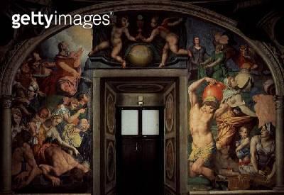<b>Title</b> : Moses Striking Water from the Rock; the Fall of Manna, 1540-45 (fresco)<br><b>Medium</b> : Fresco<br><b>Location</b> : Palazzo Vecchio (Palazzo della Signoria) Florence, Italy<br> - gettyimageskorea