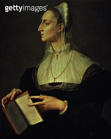 <b>Title</b> : Portrait of Laura Battiferri, c.1555-60 (panel)<br><b>Medium</b> : oil on panel<br><b>Location</b> : Palazzo Vecchio (Palazzo della Signoria) Florence, Italy<br> - gettyimageskorea