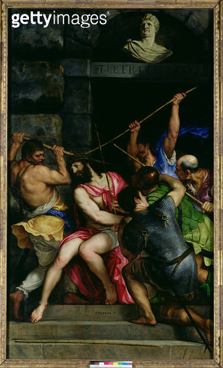 <b>Title</b> : The Crowning with Thorns, 1540-42 (oil on panel)<br><b>Medium</b> : oil on panel<br><b>Location</b> : Louvre, Paris, France<br> - gettyimageskorea