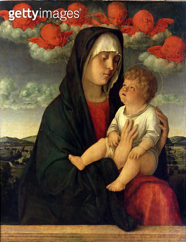 <b>Title</b> : The Madonna of the Red Cherubs (oil on panel)<br><b>Medium</b> : oil on panel<br><b>Location</b> : Galleria dell' Accademia, Venice, Italy<br> - gettyimageskorea