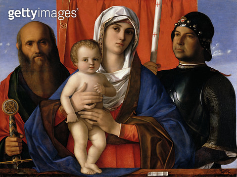 <b>Title</b> : Madonna and Child between SS. Paul and George (oil on panel)Additional InfoGeorge = portrait of the donor;<br><b>Medium</b> : oil on panel<br><b>Location</b> : Galleria dell' Accademia, Venice, Italy<br> - gettyimageskorea