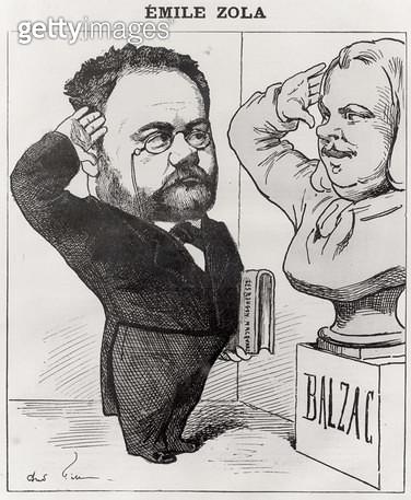 <b>Title</b> : Caricature of Emile Zola (1840-1902) Saluting a Bust of Honore de Balzac (1799-1850) 1878 (engraving) (b/w photo)<br><b>Medium</b> : engraving<br><b>Location</b> : Musee de la Ville de Paris, Maison de Balzac, Paris, France<br> - gettyimageskorea