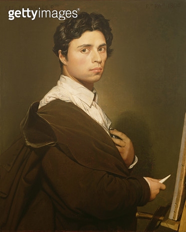 <b>Title</b> : Self Portrait at the Age of Twenty-four, 1804 (oil on canvas)<br><b>Medium</b> : oil on canvas<br><b>Location</b> : Musee Conde, Chantilly, France<br> - gettyimageskorea