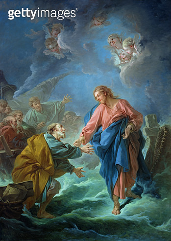 <b>Title</b> : St. Peter Invited to Walk on the Water, 1766 (oil on canvas)<br><b>Medium</b> : oil on canvas<br><b>Location</b> : Cathedrale Saint-Louis, Versailles, France<br> - gettyimageskorea