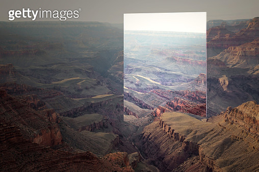 Creative picture of huge mirror reflecting beautiful Grand Canyon valley during sunset. - gettyimageskorea