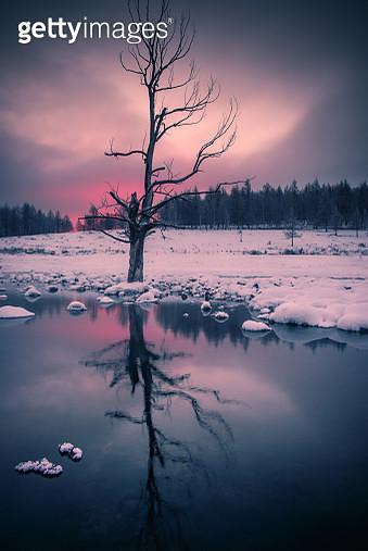 Winter scene of river in mountains, Inner Mongolia Autonomous Region, China - gettyimageskorea