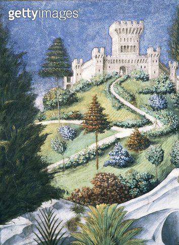 <b>Title</b> : The Path leading up to a Castle, from the Journey of the Magi, 1459 (fresco) (detail of 636)<br><b>Medium</b> : <br><b>Location</b> : Palazzo Medici-Riccardi, Florence, Italy<br> - gettyimageskorea