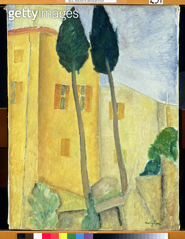 <b>Title</b> : Cypress Trees and House, 1919 (oil on canvas)<br><b>Medium</b> : oil on canvas<br><b>Location</b> : The Barnes Foundation, Merion, Pennsylvania, USA<br> - gettyimageskorea