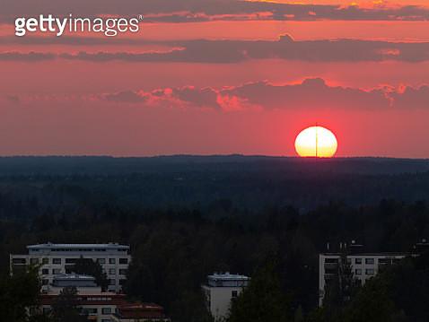 Sunset seen from Malminkartano Hill - gettyimageskorea