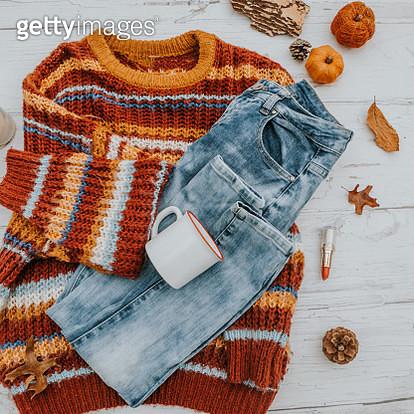 stylish winter fall  flat lay - gettyimageskorea