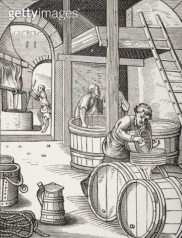 <b>Title</b> : The Brewer, after a 16th century illustration drawn and engraved by Jost Amman (1539-91) from 'Le Moyen Age et La Renaissance' b<br><b>Medium</b> : <br><b>Location</b> : Private Collection<br> - gettyimageskorea