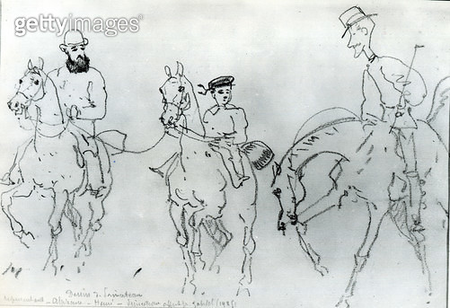 <b>Title</b> : Three Horsemen: Henri de Toulouse-Lautrec (1864-1901) between his Father, Count Alphonse, and the Artist (pencil on paper) (b/w photo)<br><b>Medium</b> : pencil on paper<br><b>Location</b> : Musee Toulouse-Lautrec, Albi, France<br> - gettyimageskorea