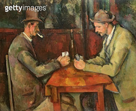 <b>Title</b> : The Card Players, 1893-96 (oil on canvas)<br><b>Medium</b> : oil on canvas<br><b>Location</b> : Musee d'Orsay, Paris, France<br> - gettyimageskorea