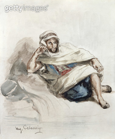 <b>Title</b> : Seated Arab (w/c on paper)<br><b>Medium</b> : watercolour on paper<br><b>Location</b> : Private Collection<br> - gettyimageskorea
