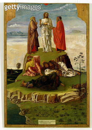 <b>Title</b> : Transfiguration of Christ on Mount Tabor, 1455-60 (tempera on panel)Additional InfoGod the Father missing from top; manifestatio<br><b>Medium</b> : tempera on panel<br><b>Location</b> : Museo Correr, Venice, Italy<br> - gettyimageskorea