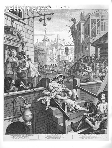 <b>Title</b> : Gin Lane, 1751 (engraving) (b/w photo)<br><b>Medium</b> : engraving<br><b>Location</b> : Bibliotheque Nationale, Paris, France<br> - gettyimageskorea