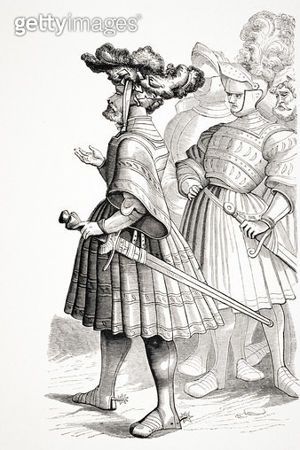 <b>Title</b> : German Knights, after a plate in the 'Life of the Emperor Maximilian' engraved by Burgmayer from a drawing by Albrecht Durer (14<br><b>Medium</b> : <br><b>Location</b> : Private Collection<br> - gettyimageskorea