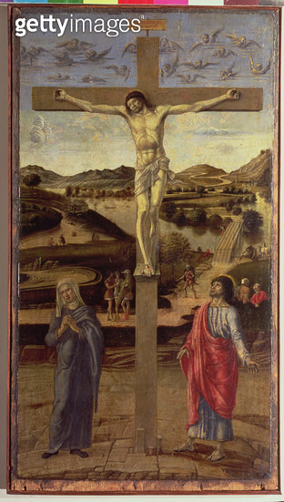 <b>Title</b> : The Crucifixion, c.1455 (oil on panel)<br><b>Medium</b> : oil on panel<br><b>Location</b> : Museo Correr, Venice, Italy<br> - gettyimageskorea